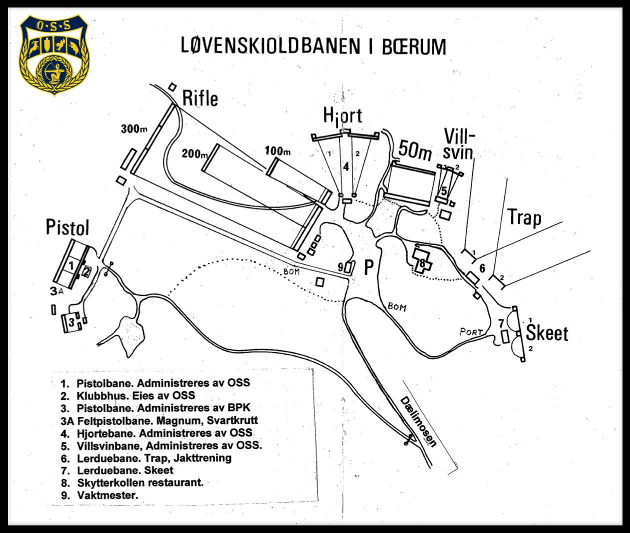 Oversikt over Løvenskioldbanene i Eiksmarka, Bærum. Oslo Sportsskyttere.
