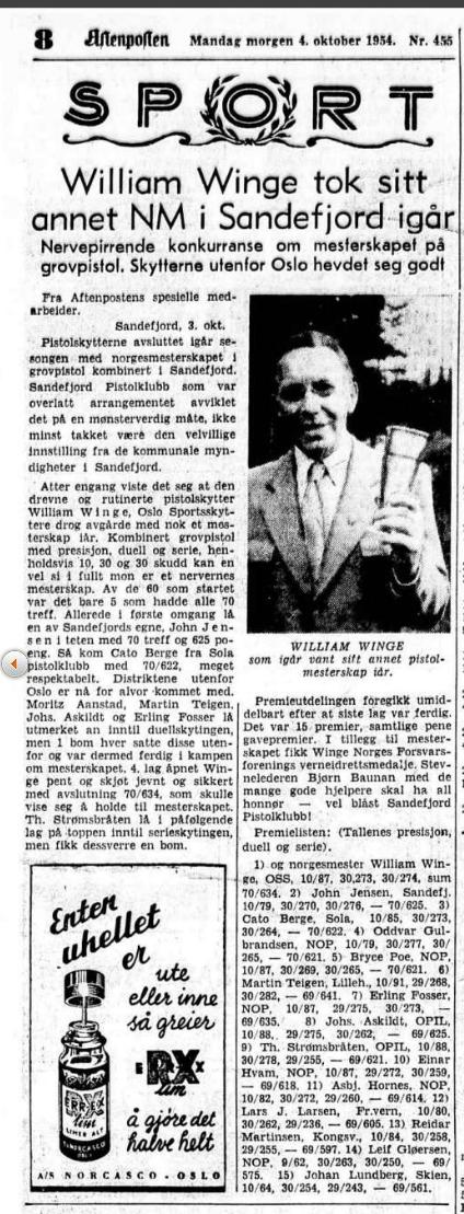 Forfatteren av jubileumsboken, William Winge, var selv en meget god skytter gjennom 1940- og 50 årene og representerte OSS i mange stevner.
