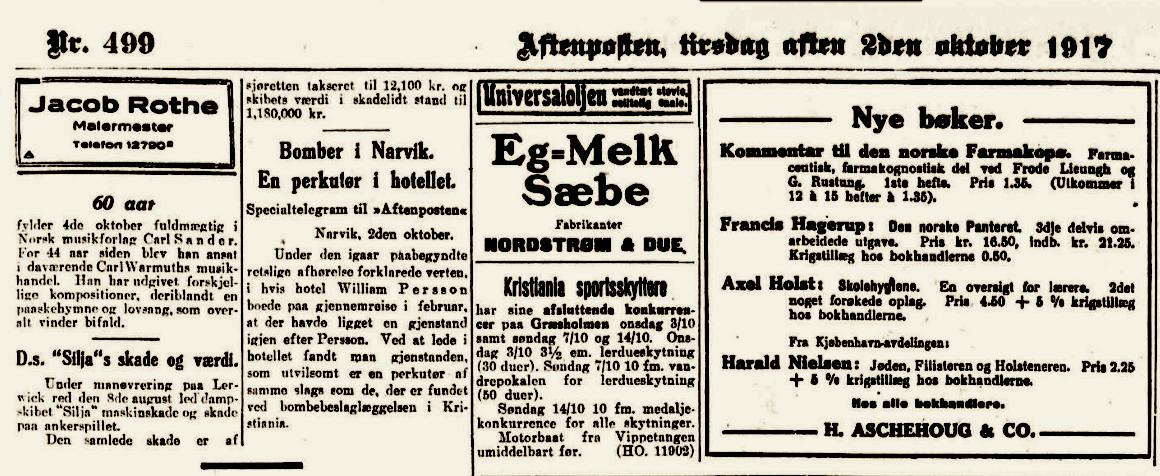 """Fra Aftenposten, tirsdag aften 2den oktober 1917. Du finner notisen under """"Eg - Melk Sæbe""""."""