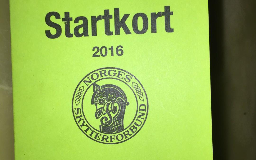 STARTKORT FOR 2016 ANKOMMET