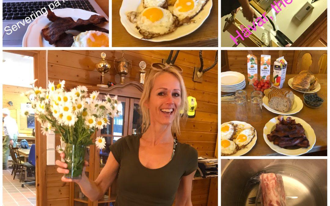 Sommer-frokost med egg og bacon